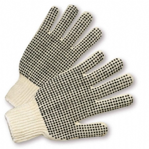 String Knit PVC Dots Mens Gloves