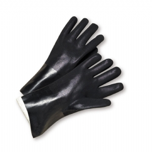 PVC 18 inch Sandpaper Grip Interlock Lined Glove