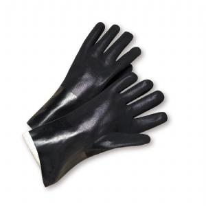PVC 12 inch Sandpaper Grip Interlock Lined Glove
